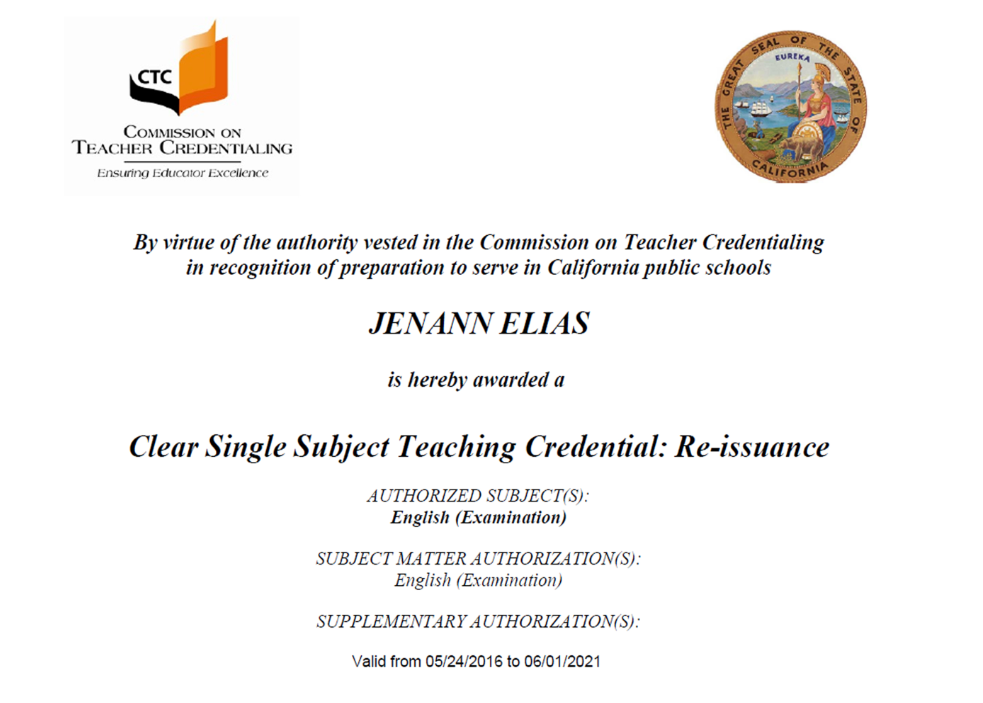Teaching credential